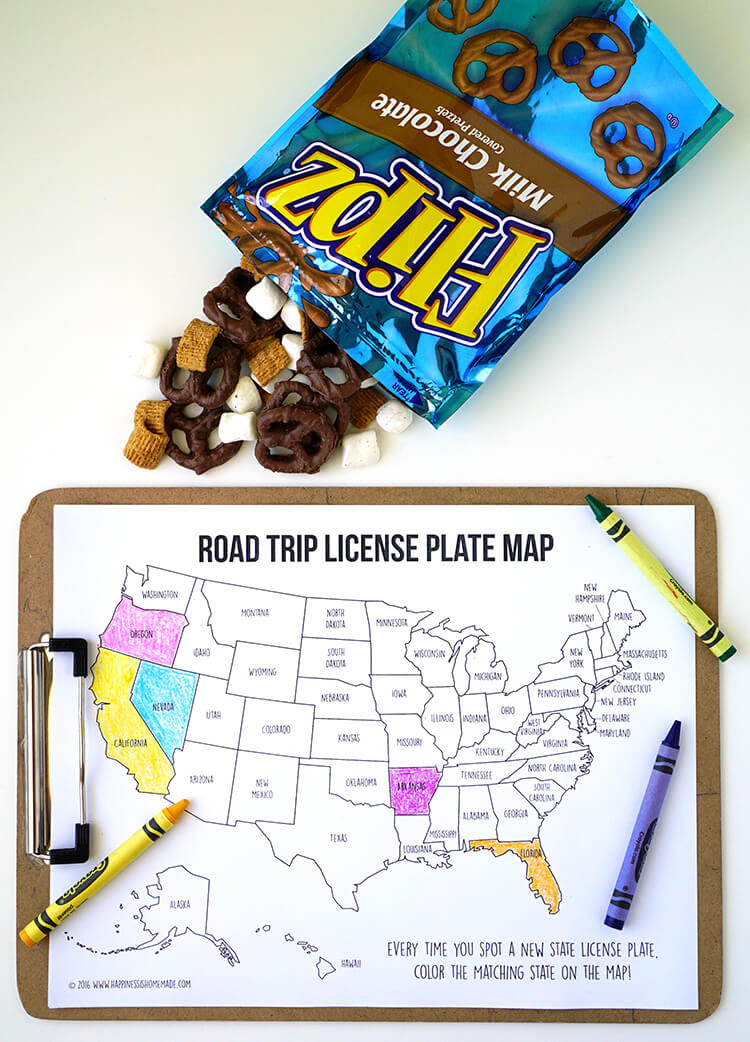 Road Trip License Plate Game Coloring Map and S'mores Flipz Snack Mix