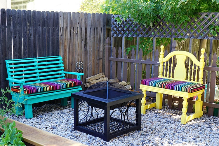 Colorful Backyard Fire Pit Area