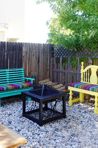 Making Progress: Colorful Benches + Fire Pit Area