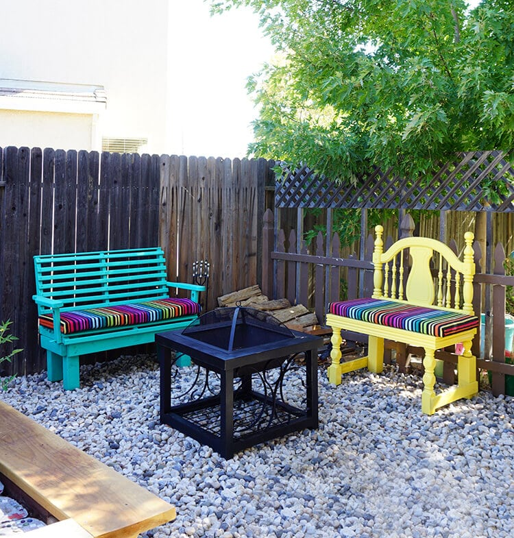 Colorful Backyard Firepit Area