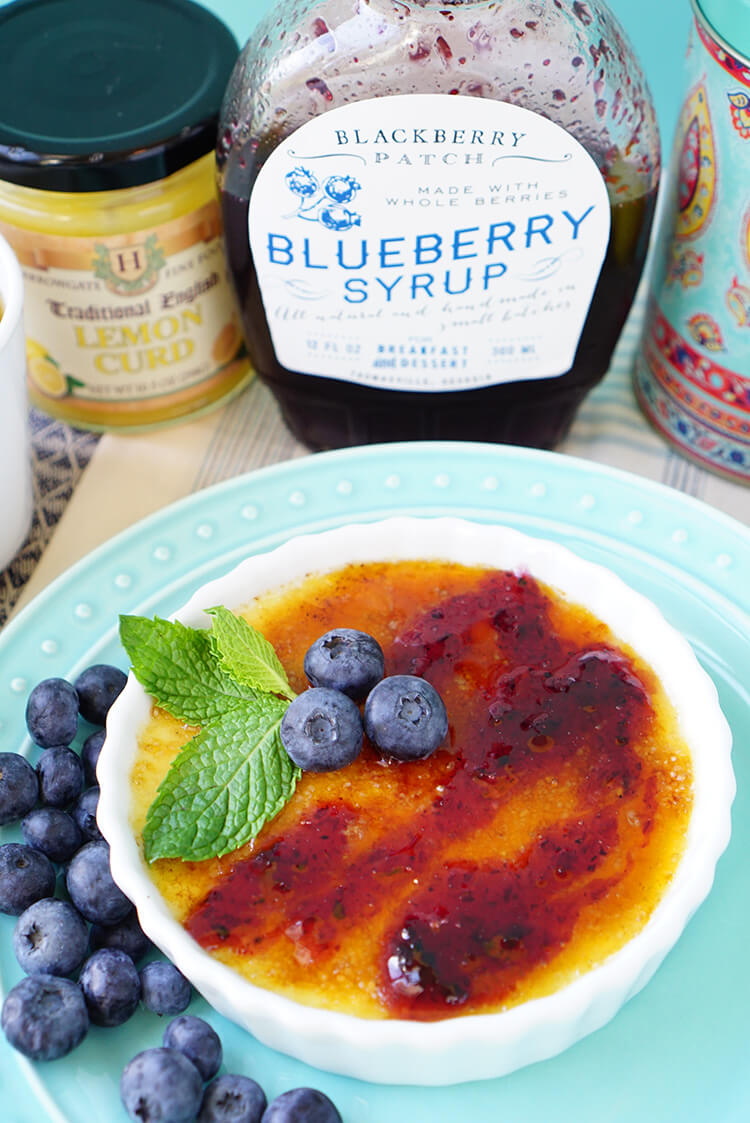 Creme Brulee with Blueberries and Lemon