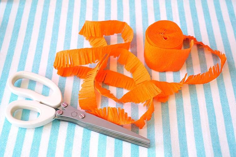 Fringed Crepe Paper for DIY Tiki Umbrellas