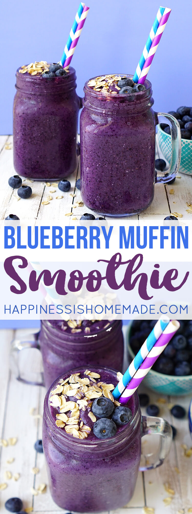 Healthy Blueberry Muffin Smoothie Recipe Happiness Is
