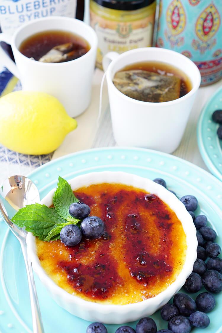 Homemade Lemon Blueberry Creme Brulee