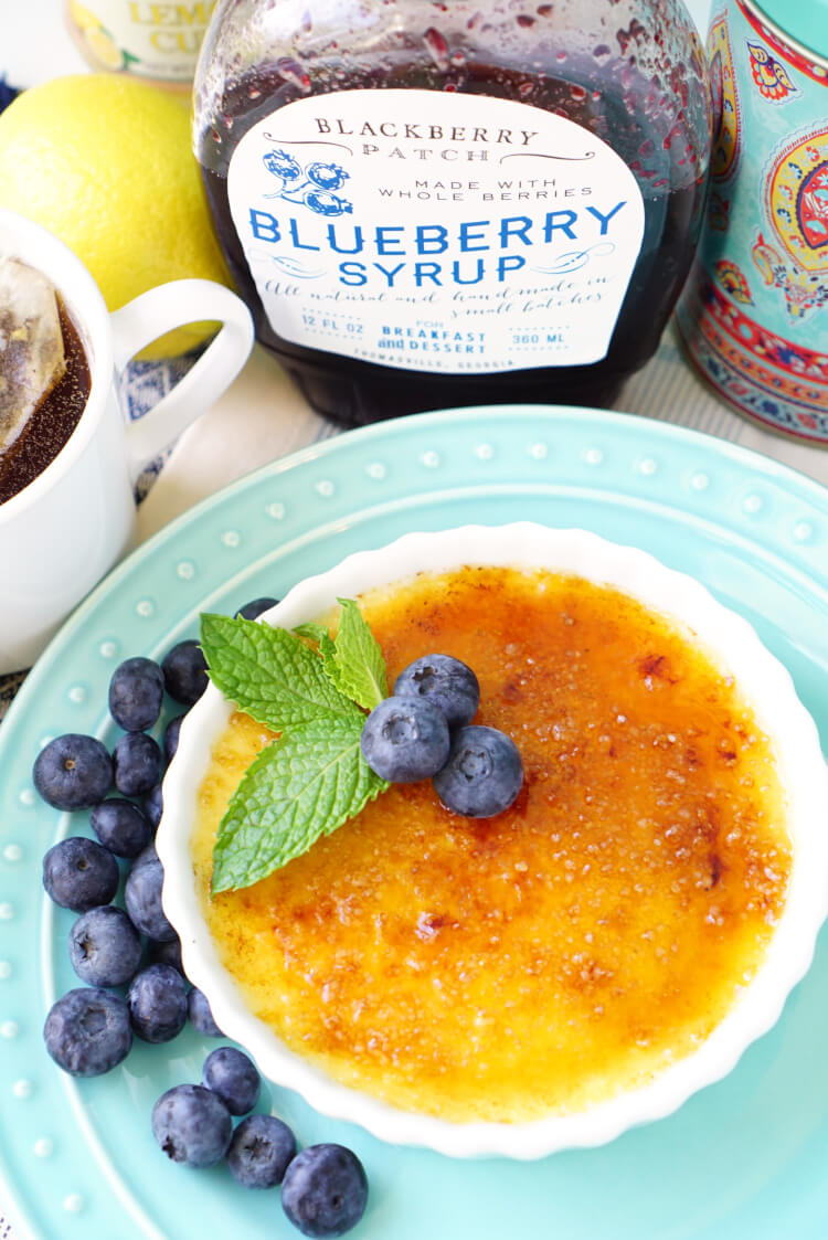 Lemon Blueberry Vanilla Creme Brulee