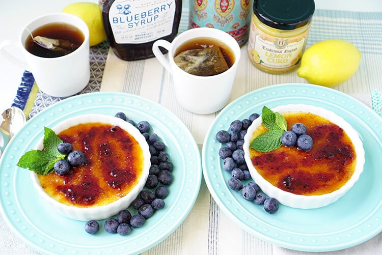 Lemon and Blueberry Creme Brulee