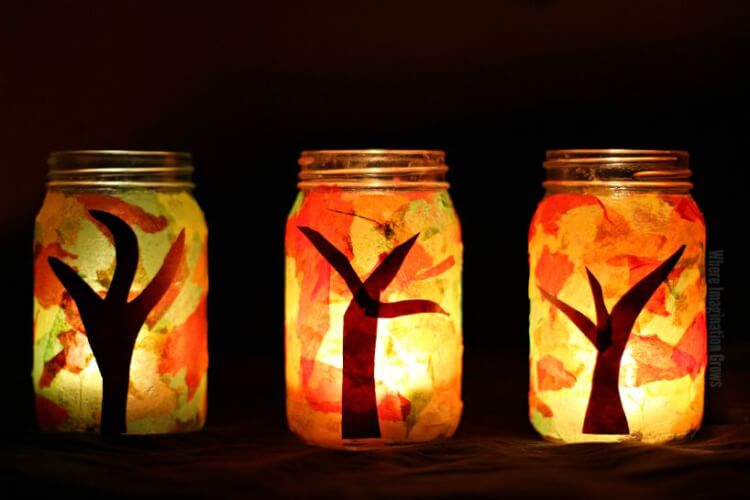 fall-tree-mason-jar-luminaries-craft-for-kids