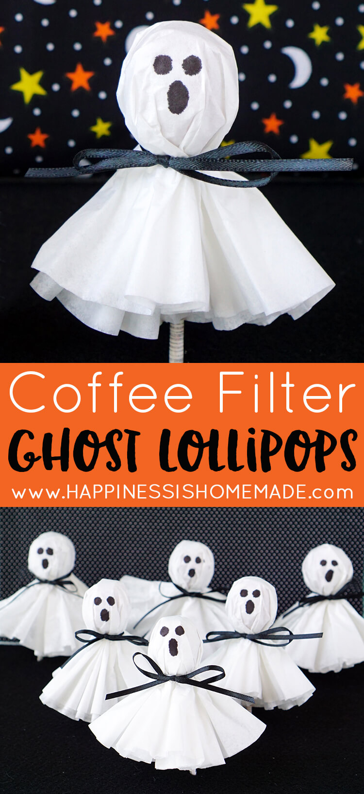 These coffee filter ghost lollipops are a cute and easy twist on classic kleenex tissue ghosts. A nostalgic and fun Halloween treat for all ages!