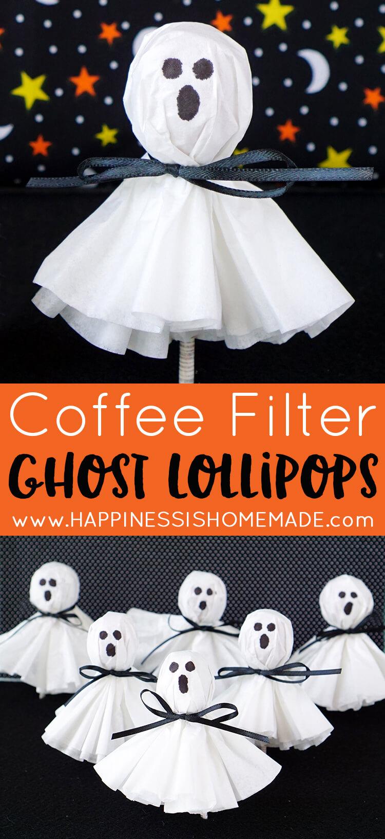 Easy Halloween Makeup: Coffee Filter Ghost Lollipops