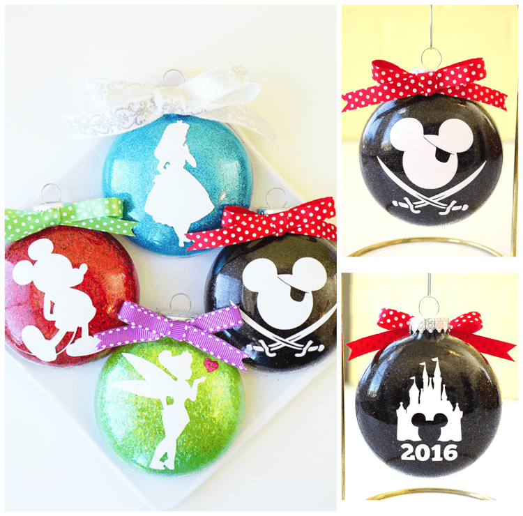 mother's day photo collage idea - Disney Glitter Christmas Ornaments Happiness is Homemade