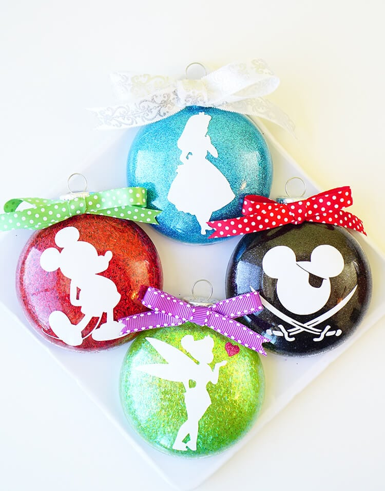 Disney Glitter Christmas Ornaments - Happiness is Homemade