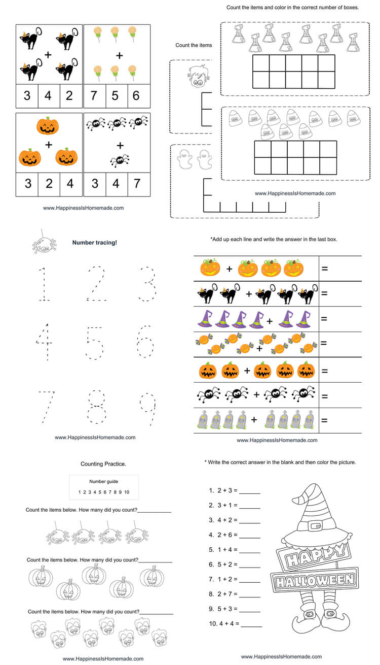 Kindergarten Halloween Math Pack - Happiness is Homemade
