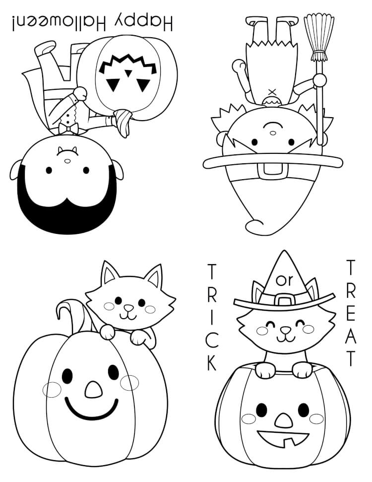 Printable halloween coloring books happiness is homemade for Cute halloween coloring pages free