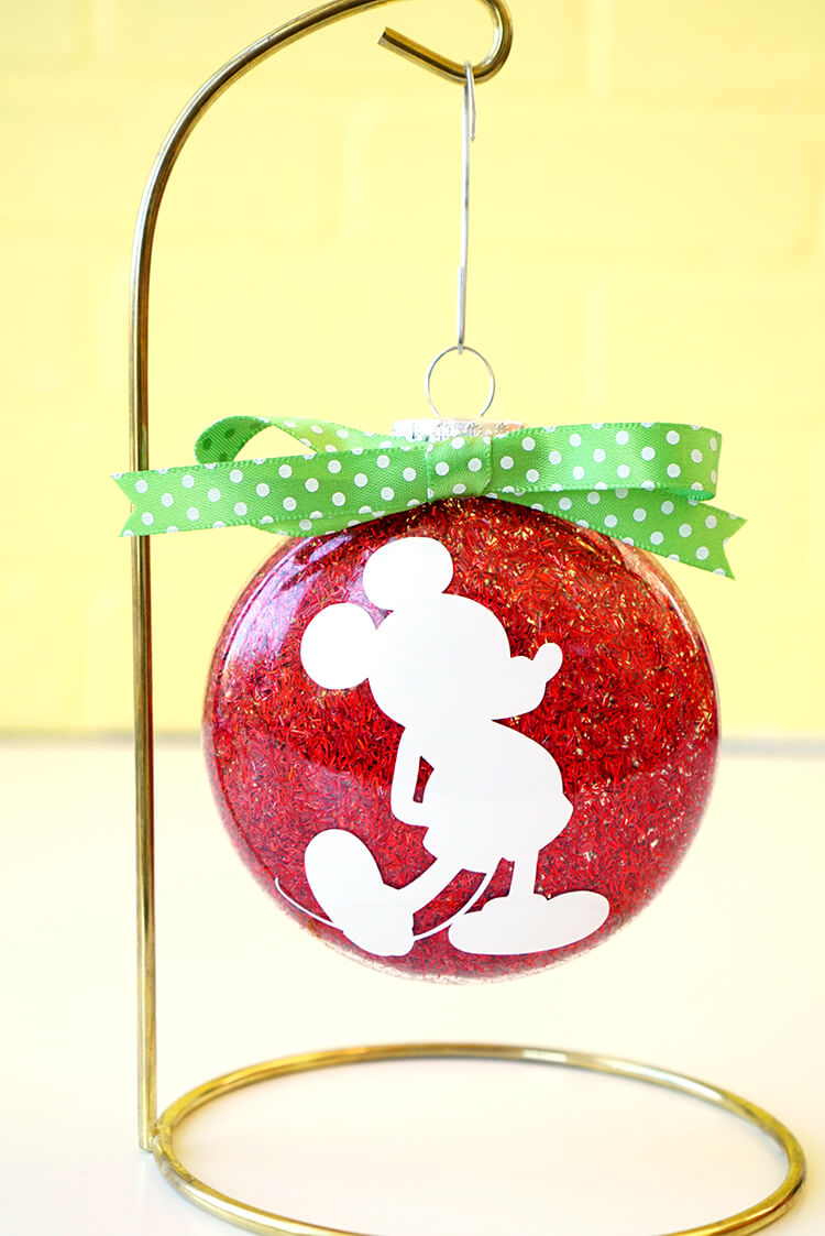 mickey mouse disney glitter christmas ornament