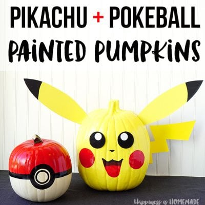 Pokemon Pumpkins: Pikachu + Pokeball