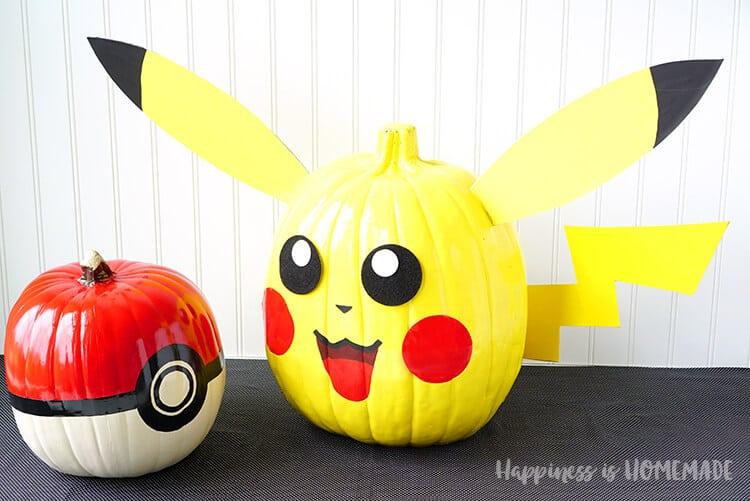 Pokemon Pumpkins Pikachu Pokeball Happiness Is Homemade