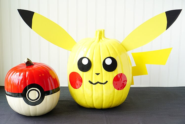 pokemon-painted-halloween-pumpkins-pikachu-and-pokeball