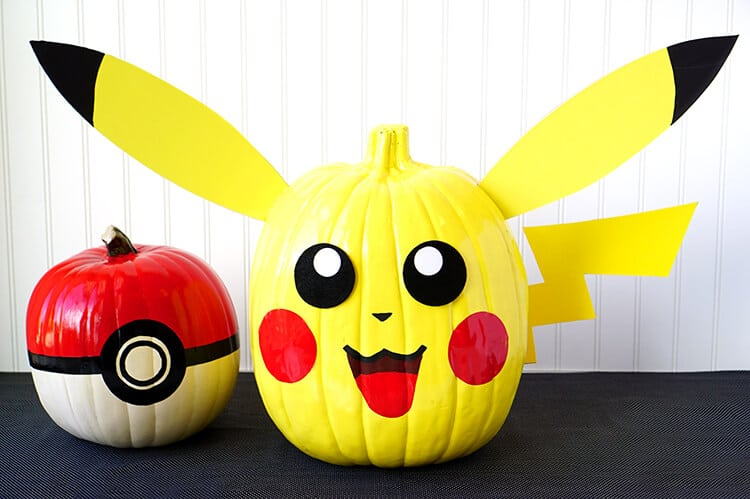 Pokemon pumpkins pikachu pokeball happiness is homemade Easy pumpkin painting patterns