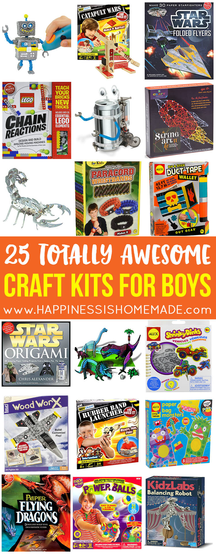 "25 Awesome Craft Kits for Boys - These 25 craft kits for boys are totally awesome - nothing pink or ""girly"" on the packaging! Great gift ideas for Christmas, birthdays, and holidays!"