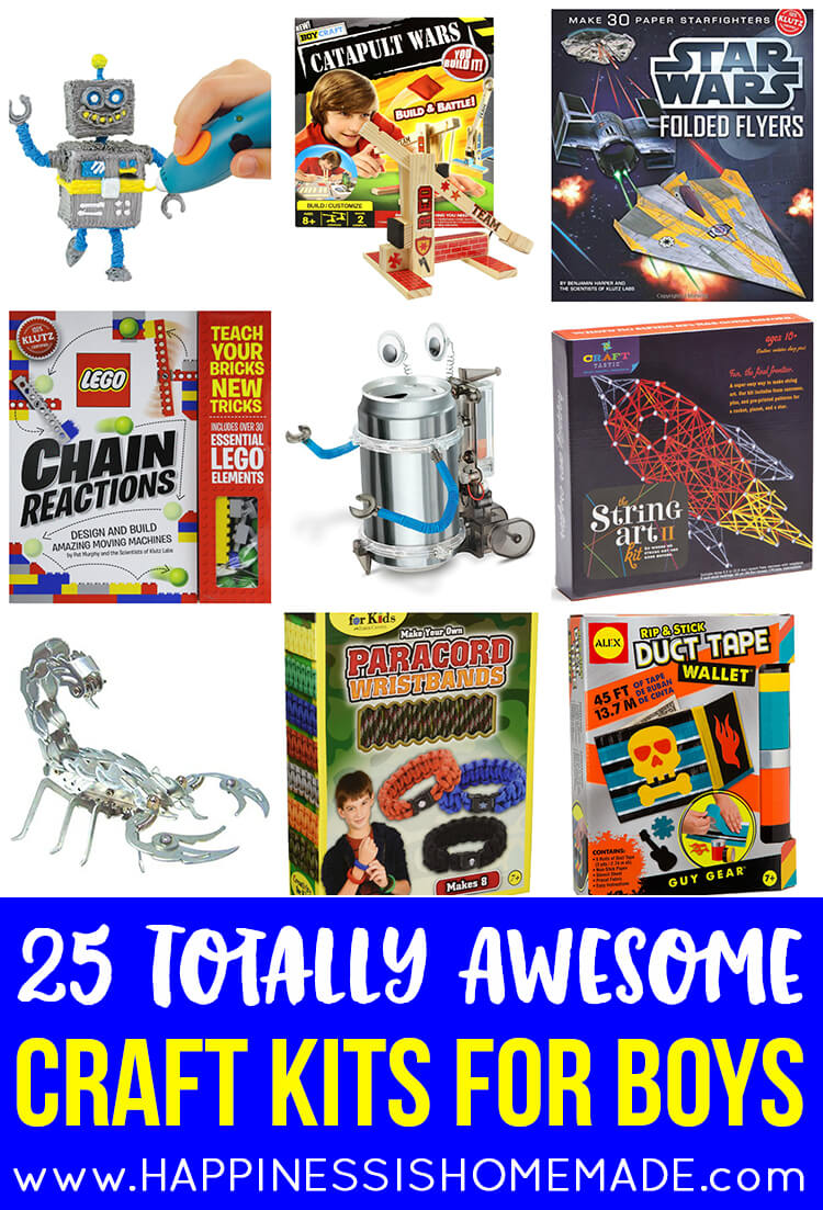 "25 Totally Awesome Craft Kits for Boys - These 25 craft kits for boys are totally awesome - nothing pink or ""girly"" on the packaging! Great gift ideas for Christmas, birthdays, and holidays!"