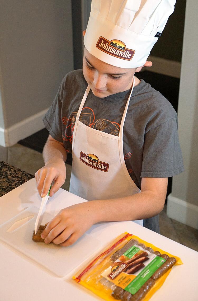 cutting-up-johnsonville-breakfast-sausage