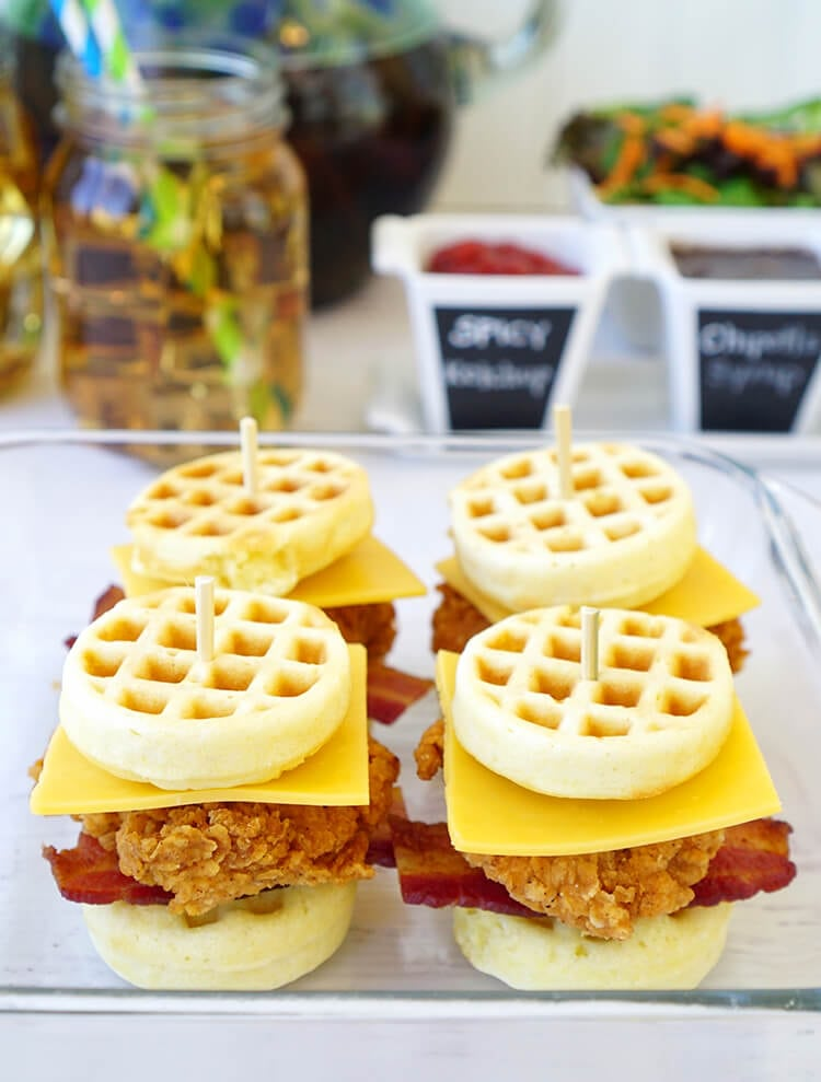 making-chicken-and-waffle-sliders