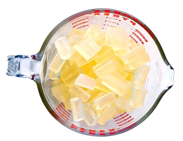 pyrex-measuring-cup-with-honey-soap-base-cubes