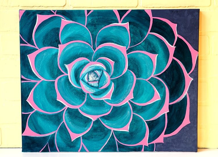 Succulent Painting From Social Artworking Wine And Paint
