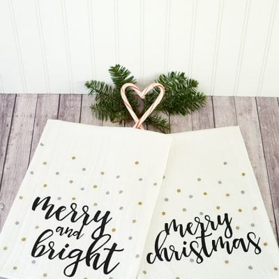 Easy Christmas Tea Towels with Cricut Explore Air