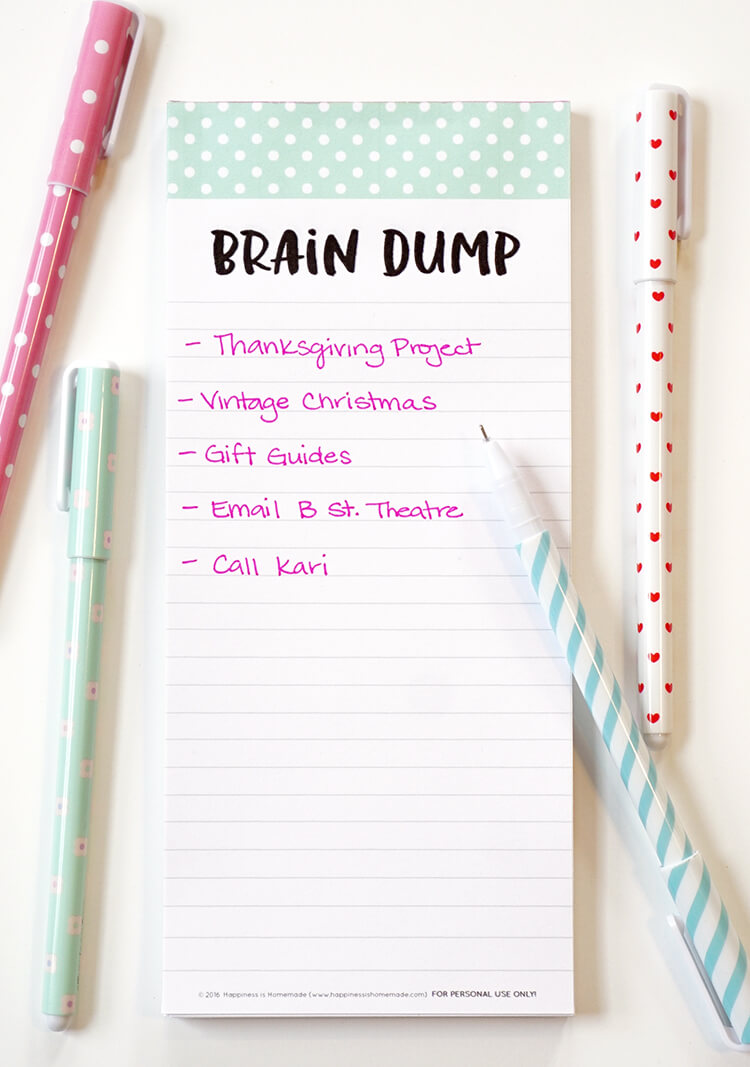 photo about Printable Notepad named Thoughts Dump\