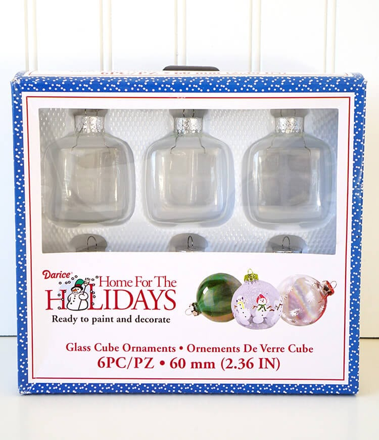 Clear Glass Cube Ornaments