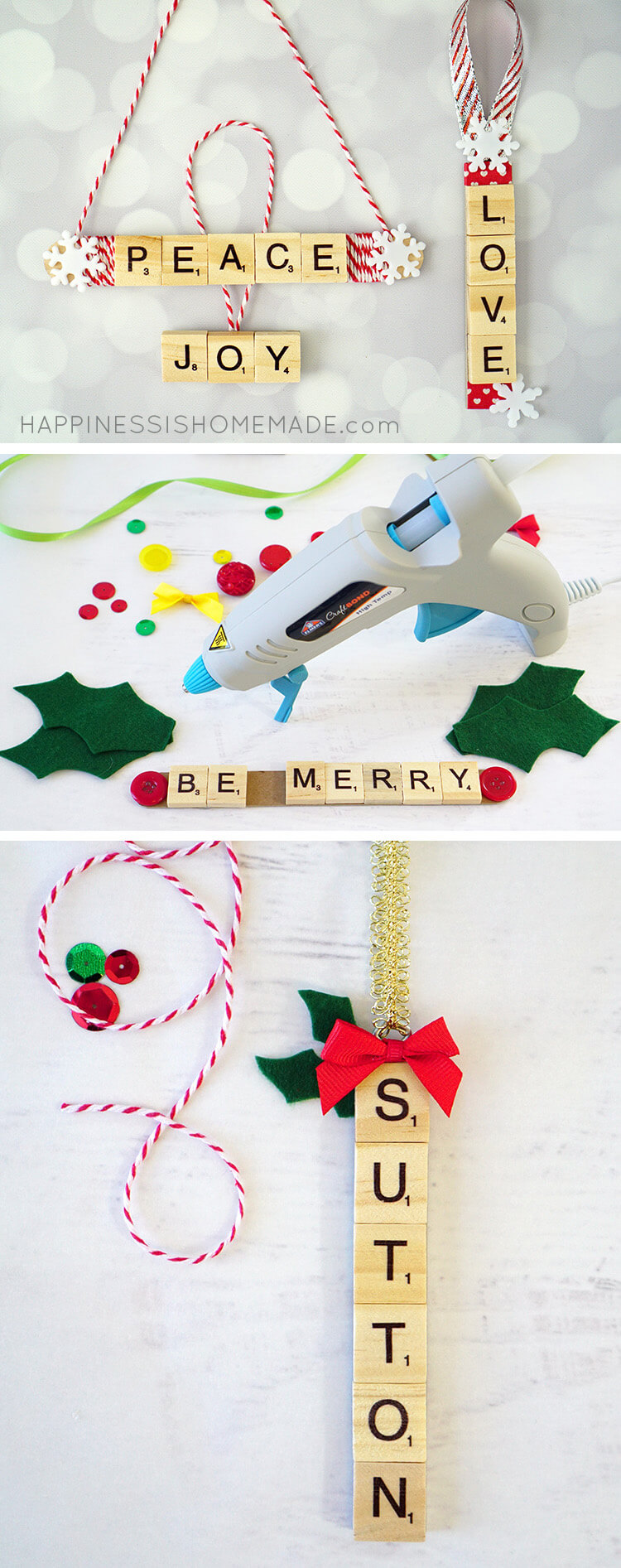 These Scrabble Tile Christmas Ornaments are a quick and easy holiday craft, and they make a great DIY homemade Christmas gift idea, too!