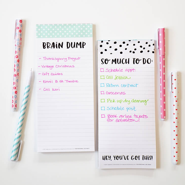 image about Printable Notepad identified as Mind Dump\