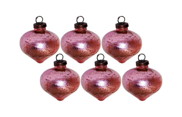 Pink Vintage Style Glass Ornaments
