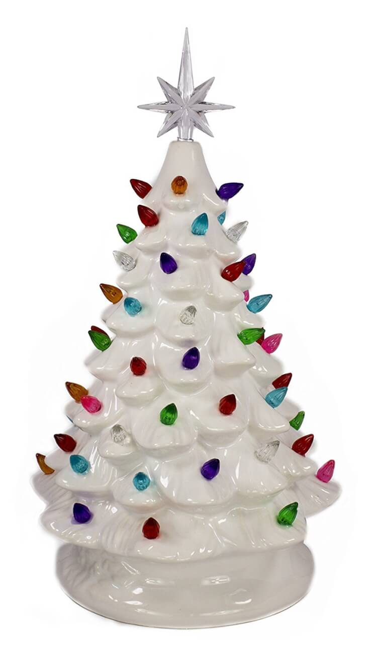 white ceramic christmas tree - Christmas Tree Decorated With Vintage Ornaments