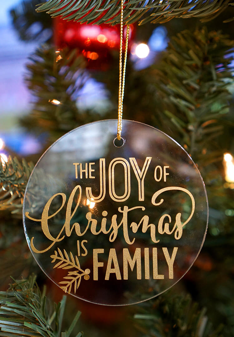 Easy Glass & Vinyl Christmas Ornaments - Happiness is Homemade