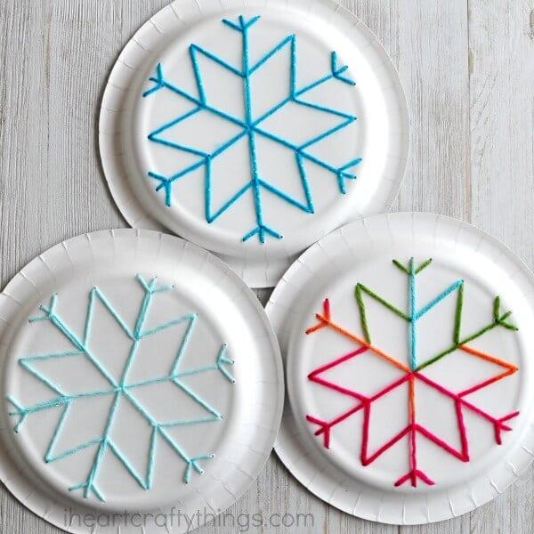 paper-plate-snowflake-yarn-art