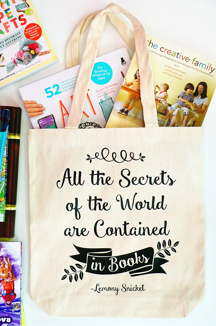 Diy Book Bag With Lemony Snicket Quote Happiness Is Homemade