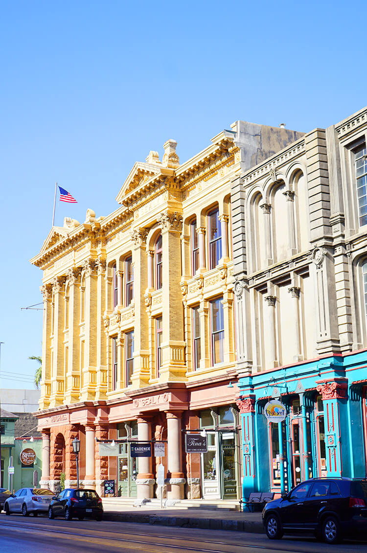 Colorful Historical Buildings in Galveston Texas