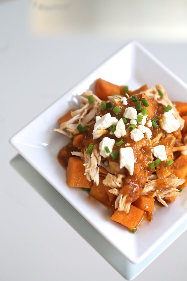Instant Pot Buffalo Chicken and Sweet Potatoes