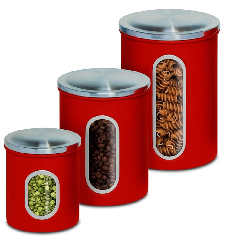 red-metal-cannister-set
