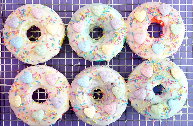 Frosted SweeTART Heart Valentines Donuts