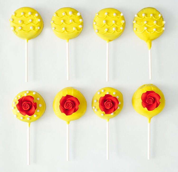 Beauty and the Beast Oreo Pops are the perfect sweet treat to celebrate the new live-action Disney movie premiere, and they're super quick and easy to make!