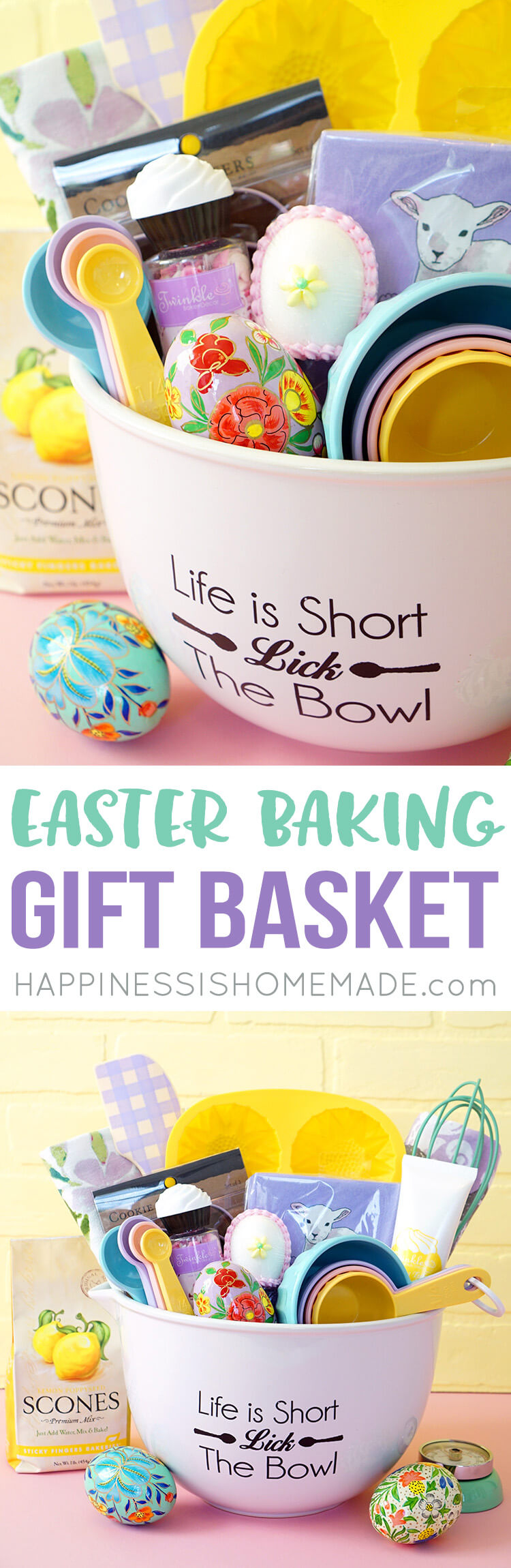 Easter baking gift basket happiness is homemade if you like this idea dont forget to pin it negle Images