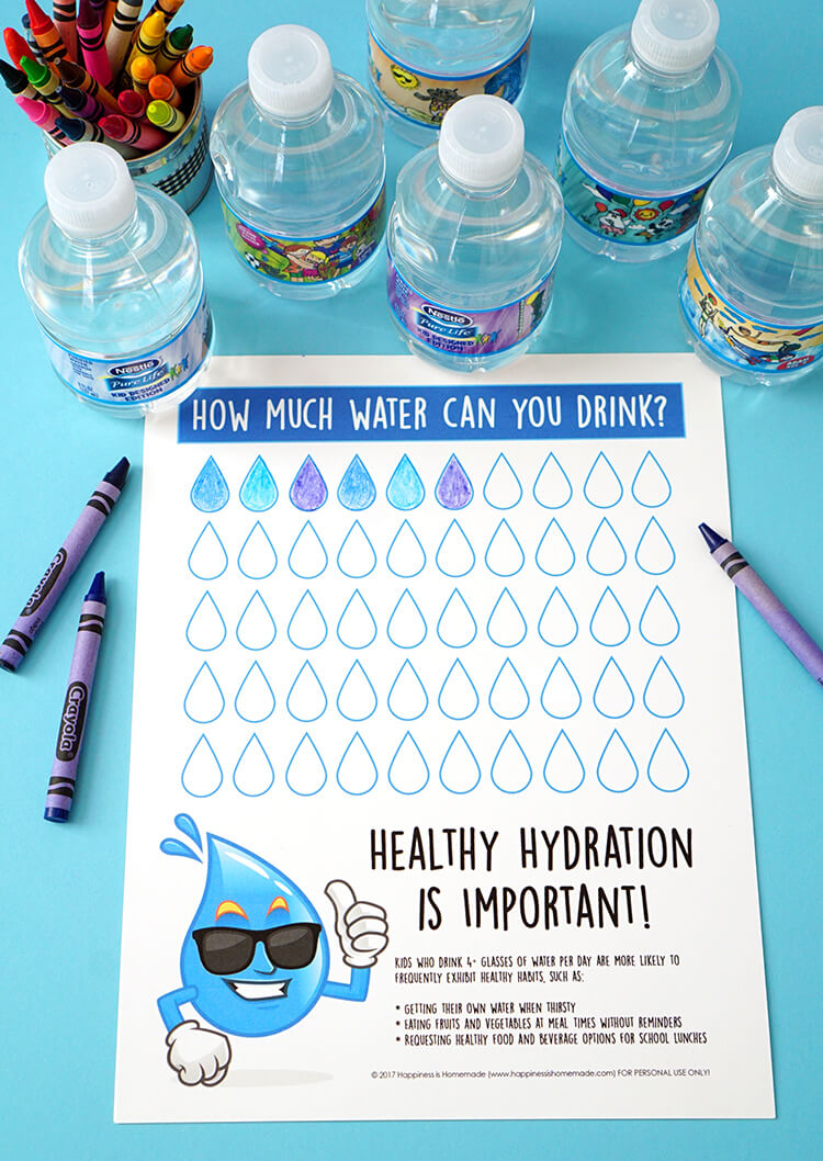 graphic about Printable Water Tracker named Wholesome Hydration Drinking water Monitoring Chart - Joy is Selfmade