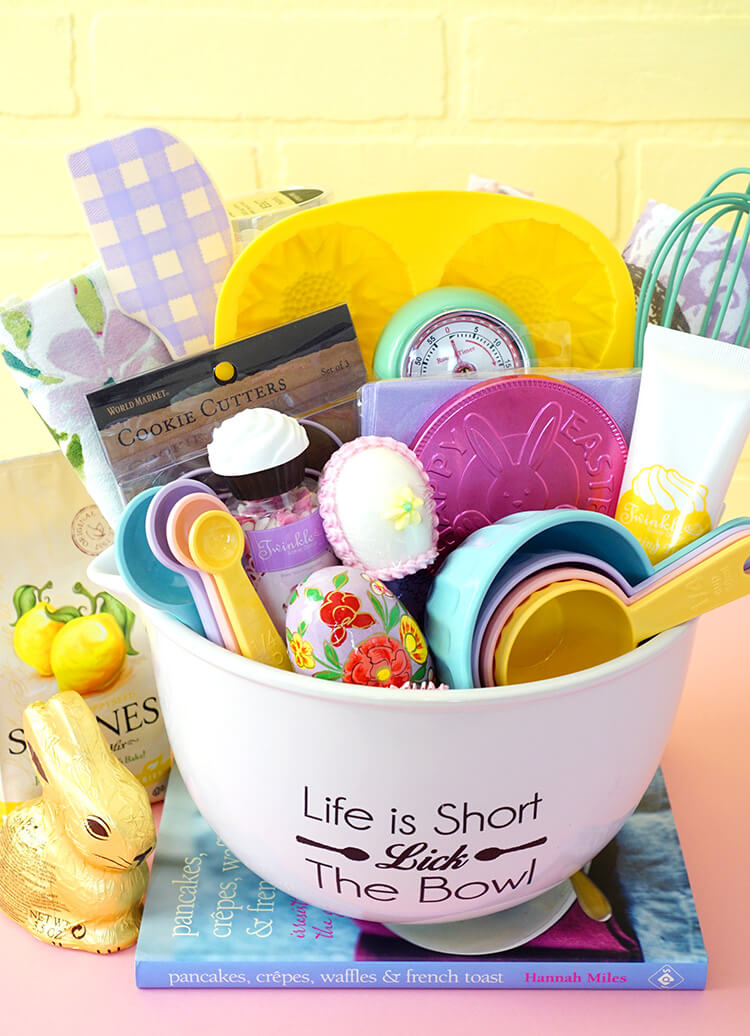 Easter baking gift basket happiness is homemade once my basket or mixing bowl rather was filled to the max i wanted to wrap it all up together with a few of the remaining items that didnt fit in the negle Images