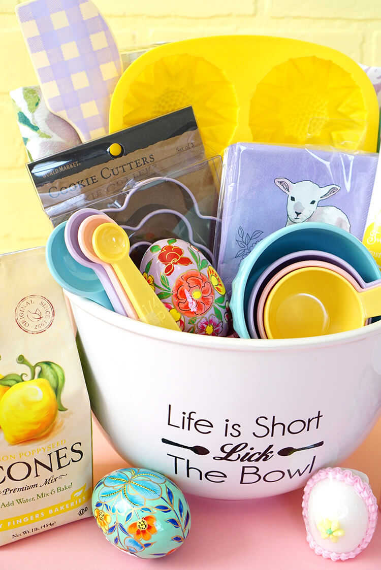 Easter baking gift basket happiness is homemade baking gift basket im seriously thinking that i might need to go back to world market to pick up a set of these pretty spring measuring cups and negle Images