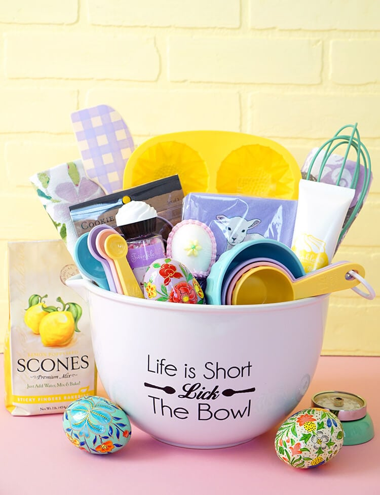 Easter baking gift basket happiness is homemade continue to layer items from biggest to smallest as you work your way towards the front of the basket negle Images