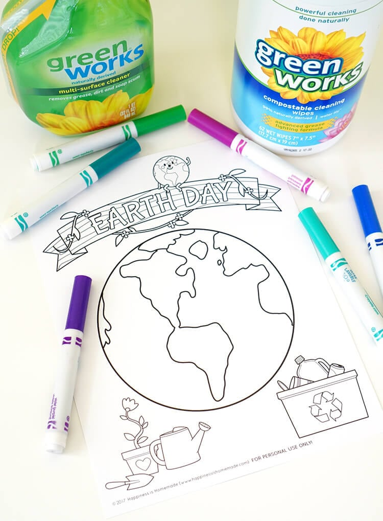 Earth Day Kids Crafts + Coloring Pages - Happiness is Homemade
