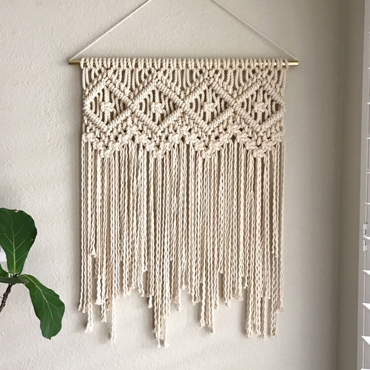 11 modern macrame patterns happiness is homemade for Wall hanging images